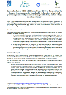 Common feedback by CEDEC, E.DSO, Eurelectric and GEODE on the report from the European Commission assessing the availability of alternatives to fluorinated greenhouse gases in switchgear and related equipment, including medium-voltage secondary switchgear