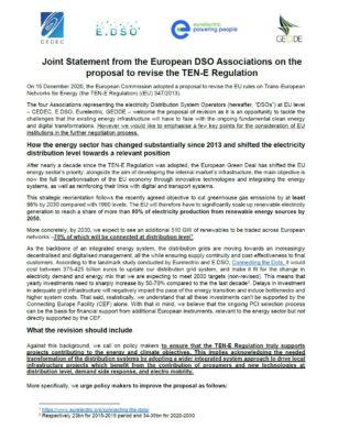 Joint statement TEN E Regulation